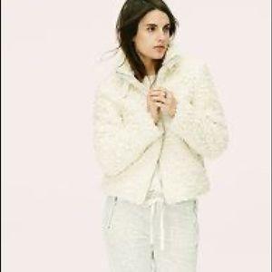 Lou & Grey   Shag Zip Up High Collar Coat Small